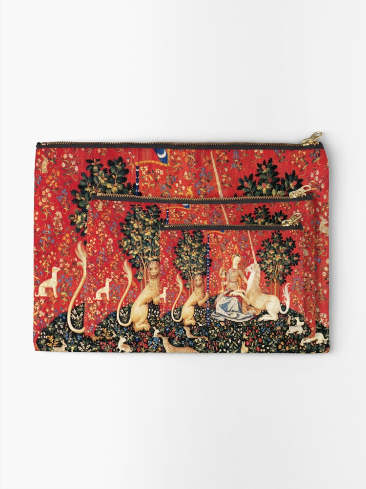 Alternate view of LADY AND UNICORN ,SIGHT  Red Green Fantasy Flowers,Animals Zipper Pouch
