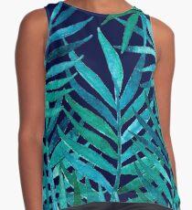 Aquarell Palm Blätter auf Navy Ärmelloses Top