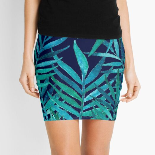 Watercolor Palm Leaves on Navy Mini Skirt