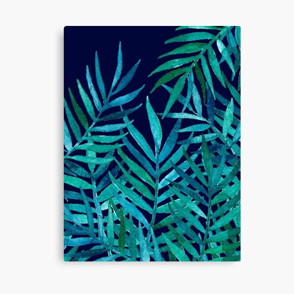 Watercolor Palm Leaves on Navy Canvas Print