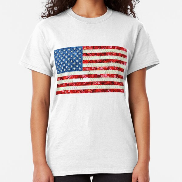 American Flag Sequin Glitter Look Patriotic USA Classic T-Shirt
