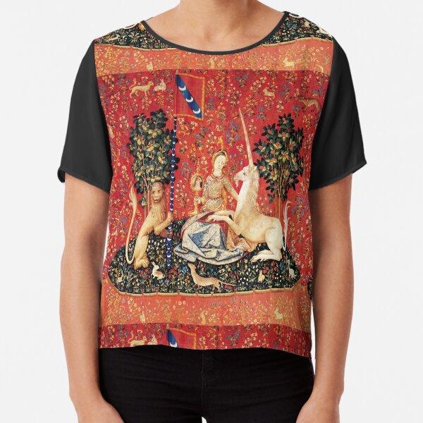 LADY AND UNICORN ,SIGHT  Red Green Fantasy Flowers,Animals Chiffon Top