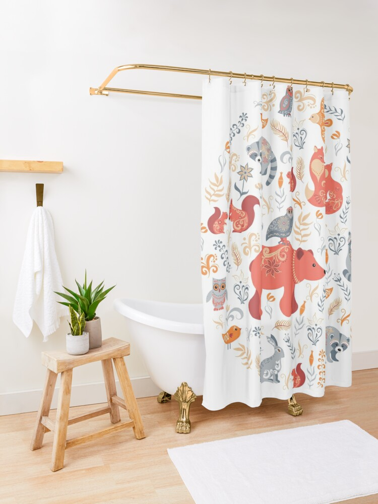Alternate view of Fairy-tale forest. Fox, bear, raccoon, owls, rabbits, flowers and herbs. Circular ornament. Shower Curtain