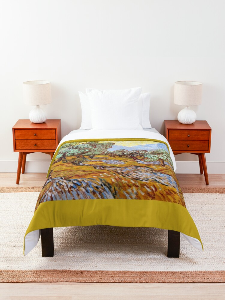 Alternate view of Van Gogh - Olive Trees with Yellow Sky and Sun Comforter