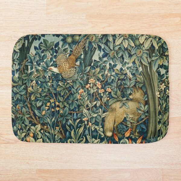 GREENERY, FOREST ANIMALS Pheasant and Fox Blue Green Floral Tapestry Bath Mat