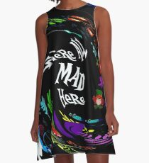 ALICE in WONDERLAND : Abstract Psychedelic Mad Fantasy Print A-Line Dress
