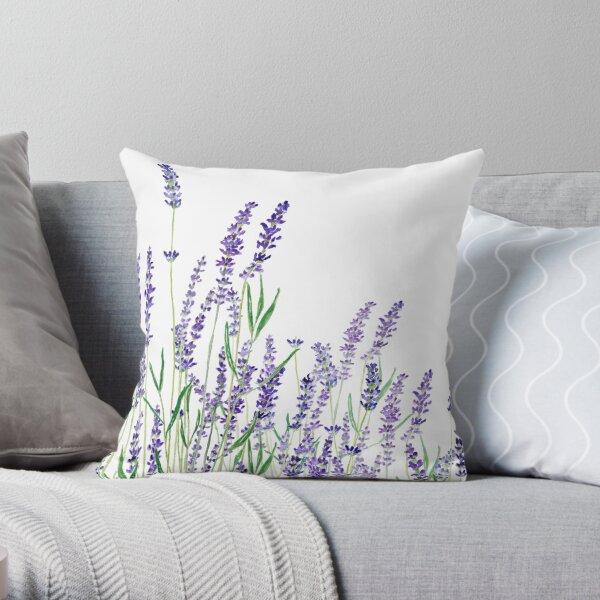 purple lavender horizontal watercolor Throw Pillow