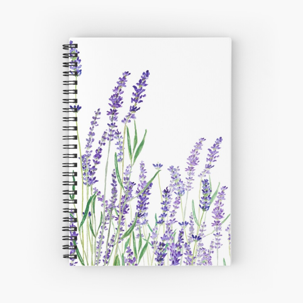 purple lavender horizontal watercolor Spiral Notebook