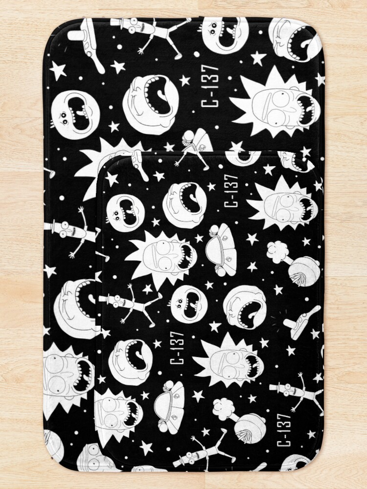 Alternate view of Black and white Rick and Morty pattern Bath Mat