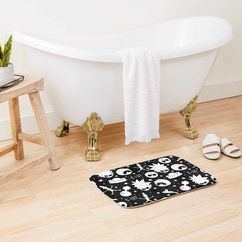 Black and white Rick and Morty pattern Bath Mat