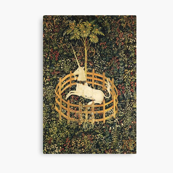 UNICORN AND GOTHIC FANTASY FLOWERS, GREEN FLORAL MOTIFS Canvas Print