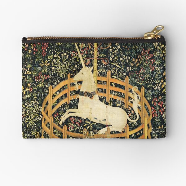 UNICORN AND GOTHIC FANTASY FLOWERS,FLORAL MOTIFS Zipper Pouch
