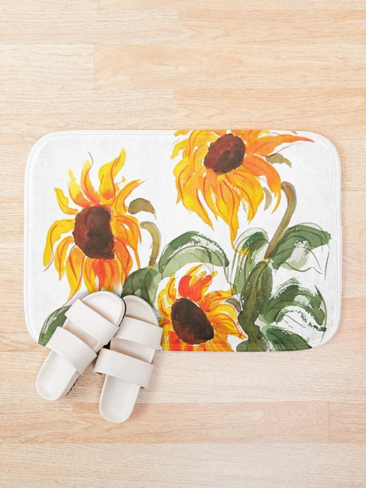 Alternate view of sunflower watercolor 2018 Bath Mat