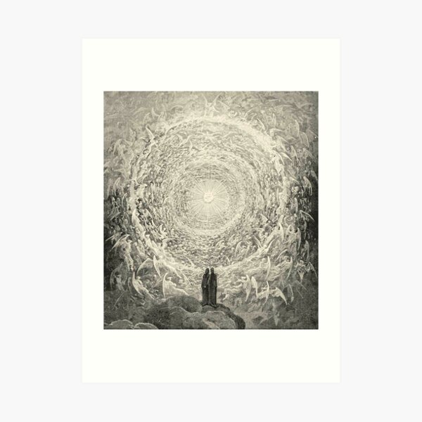 ANGELS AND DEMONS. Dante, Heaven, Heavenly, The Divine Comedy, Gustave Dore, Highest, Heaven. Art Print