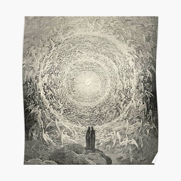 ANGELS AND DEMONS. Dante, Heaven, Heavenly, The Divine Comedy, Gustave Dore, Highest, Heaven. Poster