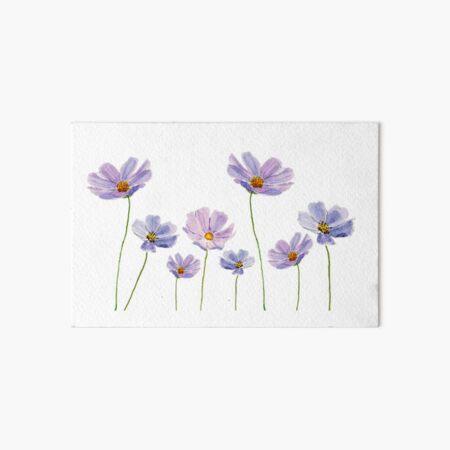 purple cosmos flowers watercolor Art Board Print