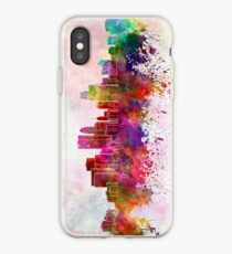 Minneapolis skyline in watercolor background iPhone Case