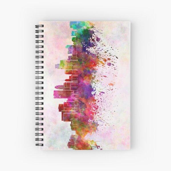 Minneapolis skyline in watercolor background Spiral Notebook