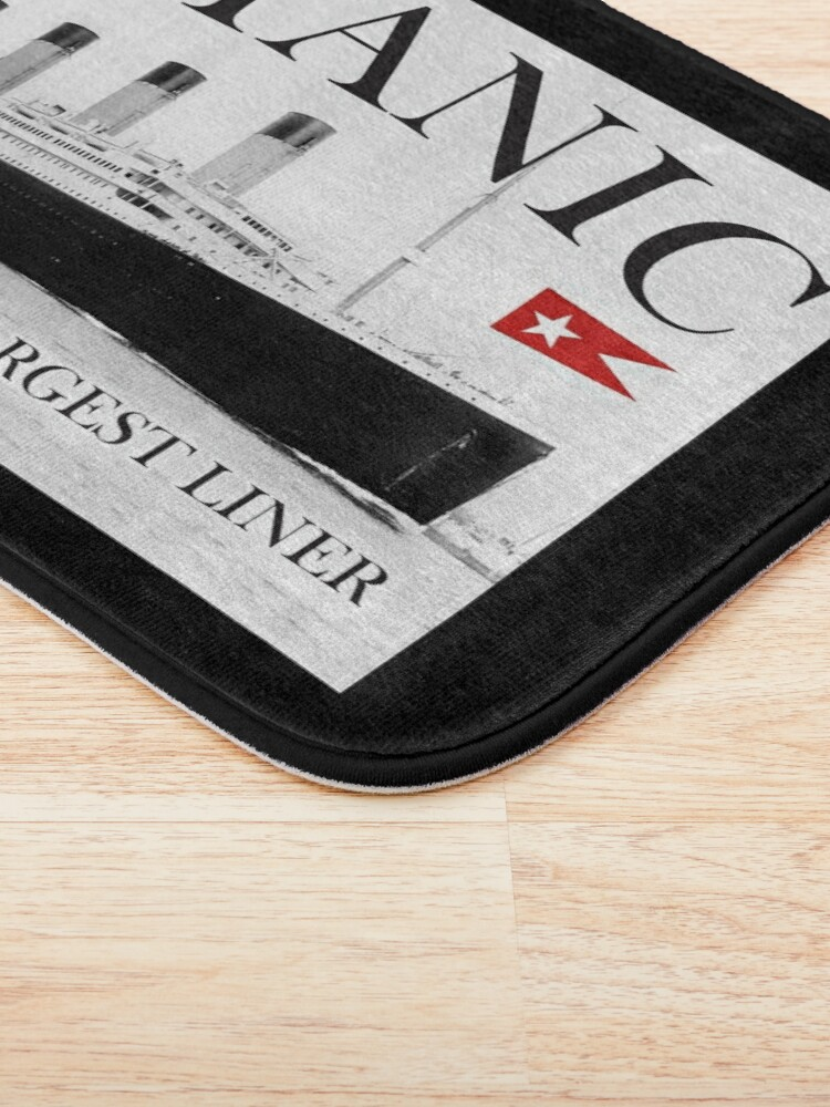 Alternate view of TITANIC, RMS Titanic, Cruise, Ship, Disaster. On Black. Bath Mat