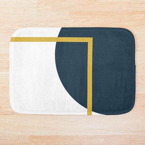 Abstract Geometric Minimalist Navy Blue, Light Mustard Yellow, and White Bath Mat