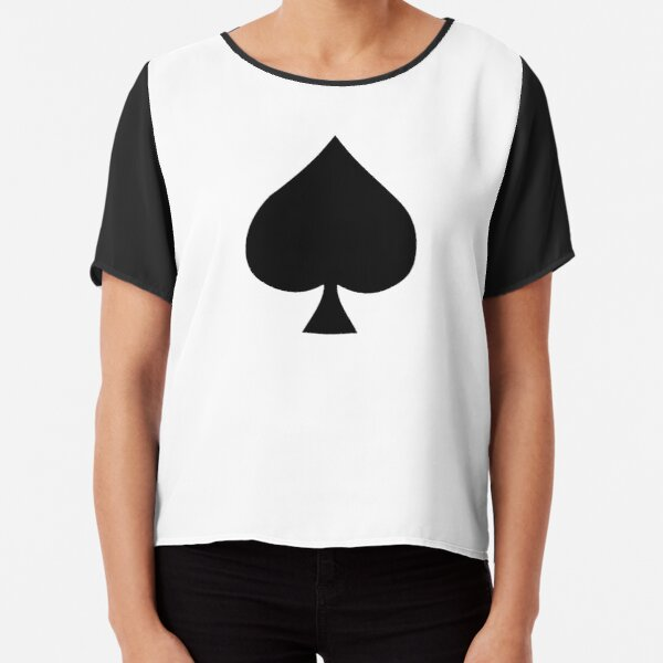 ACE. Ace of Spades, Black, Music, Motorbike, Hells Angels, Gang, Gamble, Cards, Black on White. Chiffon Top
