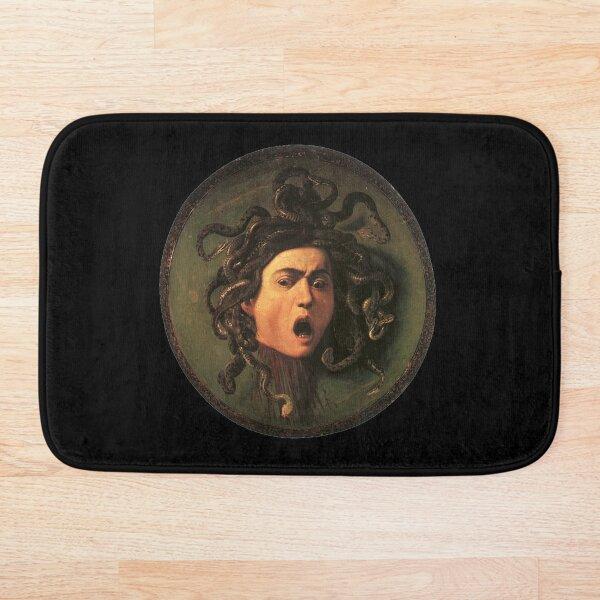 Medusa. Gorgon. Venomous snakes in place of hair. Monster. Greek Mythology. Michelangelo, Caravaggio. on BLACK. Bath Mat
