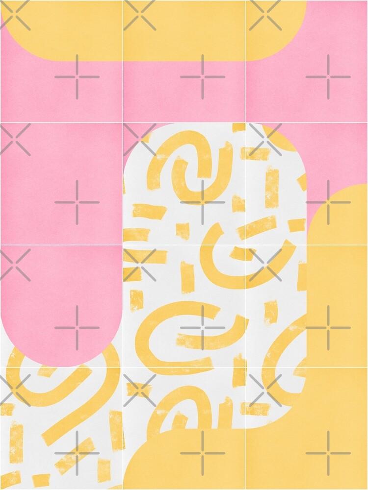 Sunny Doodle Tiles 02 #redbubble #midmod by designdn