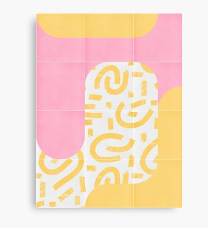 Sunny Doodle Tiles 02 #redbubble #midmod Canvas Print