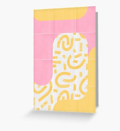 Sunny Doodle Tiles 02 #redbubble #midmod Greeting Card