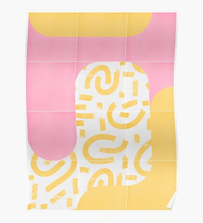Sunny Doodle Tiles 02 #redbubble #midmod Poster