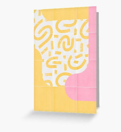Sunny Doodle Tiles 03 #redbubble #midmod Greeting Card