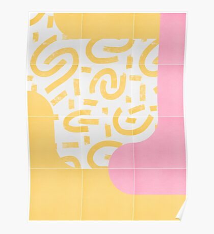 Sunny Doodle Tiles 03 #redbubble #midmod Poster