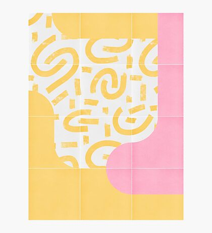 Sunny Doodle Tiles 03 #redbubble #midmod Photographic Print