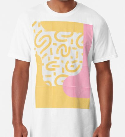 Sunny Doodle Tiles 03 #redbubble #midmod Long T-Shirt