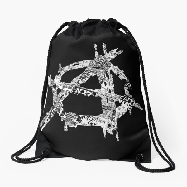 Punk Flyer Anarchy Symbol Drawstring Bag