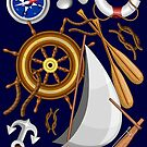 Nautical Marine and Navy Equipment Pattern by BluedarkArt