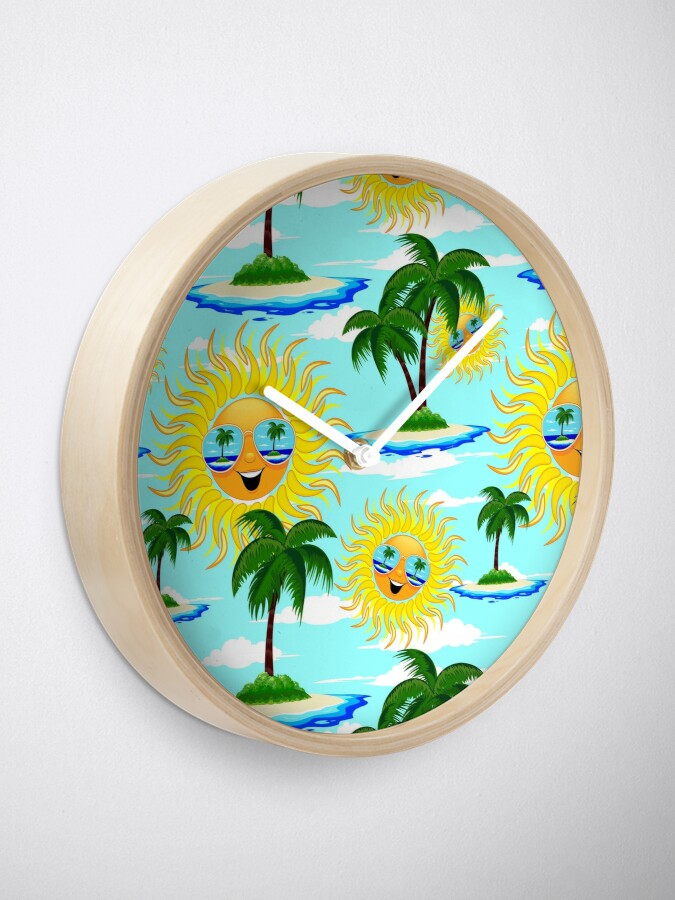 Alternate view of Happy Summer Sun and Tropical Island Clock