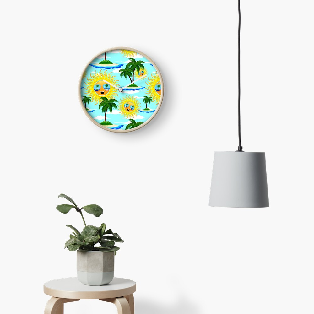Happy Summer Sun and Tropical Island Clock