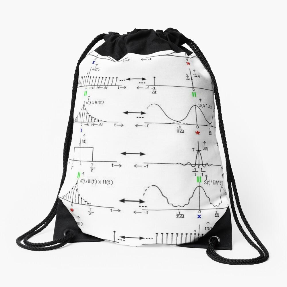 #Discrete #Fourier #Transform. #Diagram, graph, formula, chalk out, illustration, physics, graph plot, symbol, guidance, draft, sketch, science, research, scientific experiment Drawstring Bag