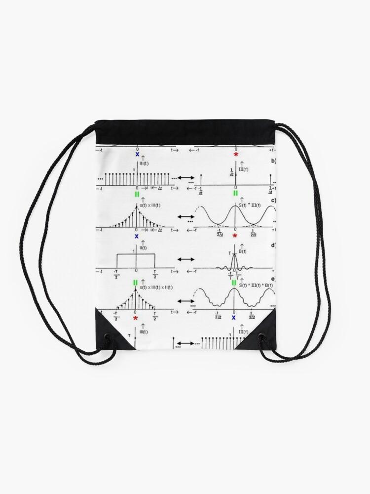 Alternate view of #Discrete #Fourier #Transform. #Diagram, graph, formula, chalk out, illustration, physics, graph plot, symbol, guidance, draft, sketch, science, research, scientific experiment Drawstring Bag