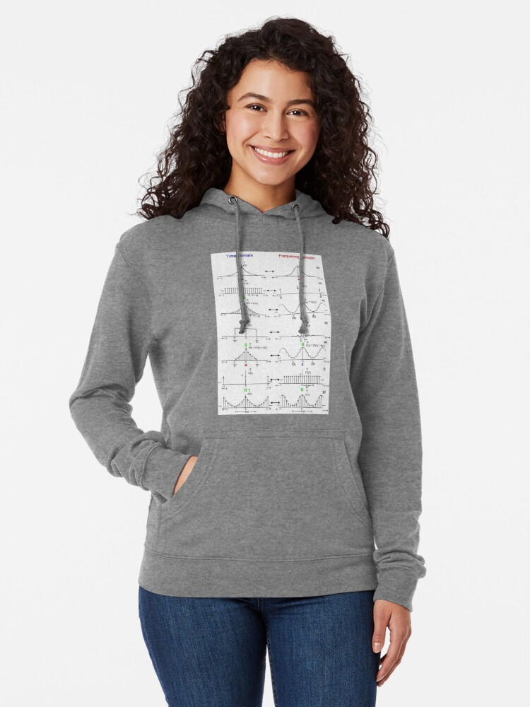 Alternate view of #Discrete #Fourier #Transform. #Diagram, graph, formula, chalk out, illustration, physics, graph plot, symbol, guidance, draft, sketch, science, research, scientific experiment Lightweight Hoodie
