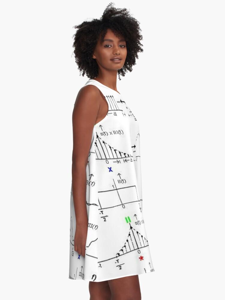 Alternate view of #Discrete #Fourier #Transform. #Diagram, graph, formula, chalk out, illustration, physics, graph plot, symbol, guidance, draft, sketch, science, research, scientific experiment A-Line Dress