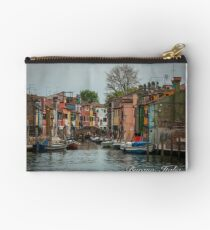 A View Along a Canal in Burano, Italia Zipper Pouch