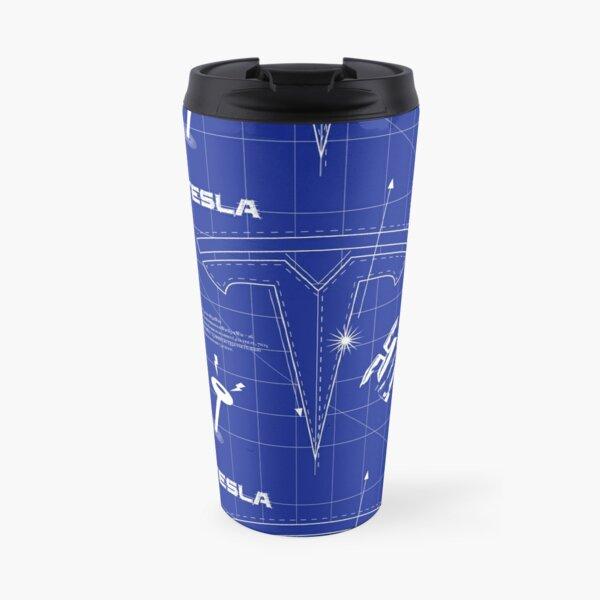 Tesla logo blueprint on blueback Travel Mug
