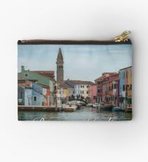 A View Along a Canal in Burano, Italy Zipper Pouch