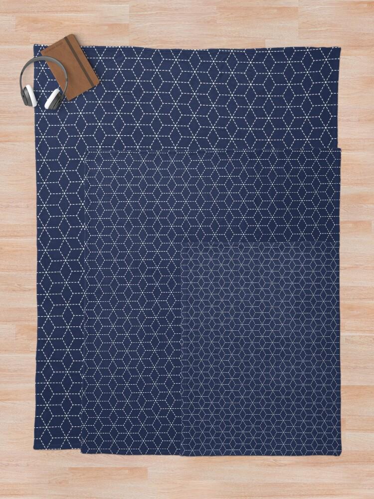 Alternate view of Sashiko stitching indigo pattern 1 Throw Blanket