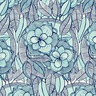 Teal Magnolias – a hand drawn pattern  by micklyn