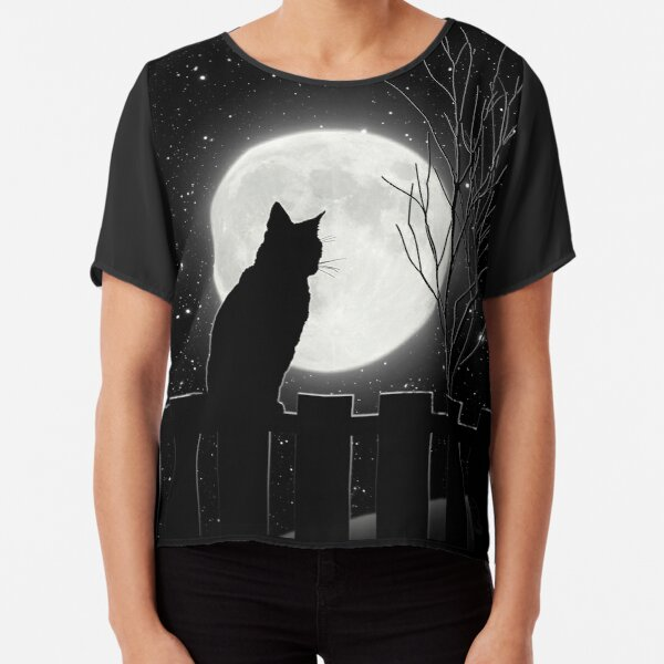 Silent night Cat looking at the full moon Chiffon Top