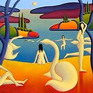 Bathers by lake with swans and trees by Alan Kenny