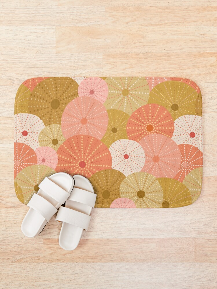 Alternate view of Sea Urchins in Gold + Coral Bath Mat